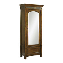 Riverside Furniture - Riverside Furniture Craftsman Home Wardrobe - Riverside Furniture - Armoires - 2966 - Riverside's products are designed and constructed for use in the home and are generally not intended for rental commercial institutional or other applications not considered to be household usage.Riverside uses furniture construction techniques and select materials to provide quality durability and value in our products and allows us to meet the wide range of design and budget requirements of our customers. The construction of our core product line consists of a combination of cabinetmaker hardwood solids and hand-selected veneers applied over medium density fiberboard (MDF) and particle board. MDF and particle board are used in quality furniture for surfaces that require stability against the varying environmental conditions in modern homes. The use of these materials allows Riverside to design heirloom quality furnishings that are not only beautiful but will increase in value through the years.