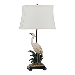 "Cal Lighting - Coastal Egret Pearl White Table Lamp - A majestic egret will add a natural touch to your decor in this decorative table lamp. The beautiful bird is adorned with pearl white finish while the lower base is in a natural clay finish with espresso details. A rectangular off-white fabric shade completes this alluring coastal style look. Coastal bird table lamp. Pearl white and clay finish. Espresso details. Resin construction. Off white fabric rectangular shade. One max 150 watt 3-way bulb (not included). Shade is 8 1/2"" x 13 1/2"" on top 11"" x 16"" on the bottom and 11"" high. Base is 8 1/2"" wide and 6 1/2"" deep.  Coastal bird table lamp.  Pearl white and clay finish.  Espresso details.  Resin construction.  Off white fabric rectangular shade.  From the Cal Lighting collection of table lamps.  One max 150 watt 3-way bulb (not included).  3-way switch.  30 1/2"" high.  Shade is 8 1/2"" x 13 1/2"" on top 11"" x 16"" on the bottom and 11"" high.  Base is 8 1/2"" wide and 6 1/2"" deep."