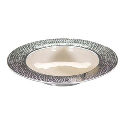 Zodax - Zodax Round Enameled Bowl with Hammered Rim-Large - Zodax - Bowls - IN5124 - Round Enameled Bowl with Hammered Rim