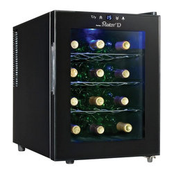 Danby - Danby DWC1233BLSC 12 Bottle Maitre D Countertop Wine Cooler - DWC1233BLSC - Shop for Wine Refrigerators from Hayneedle.com! Whether you have a huge wine cellar or none at all you'll want to keep your most delicious wines close at hand. The Danby DWC1233BL-SC 12 Bottle Maitre D Countertop Wine Cooler is your new best friend. This handsome countertop wine cooler safely cradles 12 of your favorite bottles on three contoured chrome shelves. This high efficiency cooler is Earth-friendly and uses no harmful refrigerants. It's silent and vibration-free too so your wine is safer. A simple convenient push-button thermostat lets you set a perfect storage temperature between 50-65F degrees (10-18C). Switch on the cool blue LED light and gaze through the clear glass door to admire your stash without disturbing it. All this efficiency is wrapped in a glossy black cabinet handsome and proud. Note: Single Zone wine coolers are intended to store only one type of wine at a time as they have only one temperature zone that can be set to cool either red white or sparkling wine. About DanbyDanby is one of the largest household appliance marketing companies in North America with an impressive lineup of compact specialty and home comfort appliances to suit the lifestyles of today's consumer. Danby's reputation as a leader in the appliance market has been achieved by researching what consumers want and providing quality innovative products at competitive prices to fit their lifestyles.