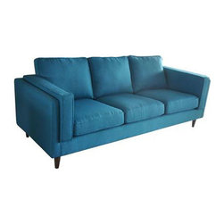 Bluebird Sofa - Bright blue upholstery gives this mid-century styled sofa a pop of fresh, modern energy. It's the perfect way to renew your living room while maintaining your chic vintage style.