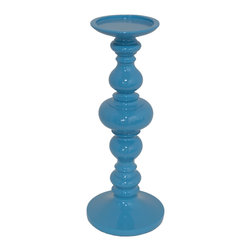 Blue Resin Candle Holder, Small - Light up your night by topping a candle on our blue resin candle holders.