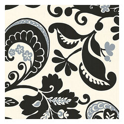 Black & White Modern Scroll Fabric - Modern swirling paisley-esque print in black & white with touches of silver. Go ahead, go wild!Recover your chair. Upholster a wall. Create a framed piece of art. Sew your own home accent. Whatever your decorating project, Loom's gorgeous, designer fabrics by the yard are up to the challenge!