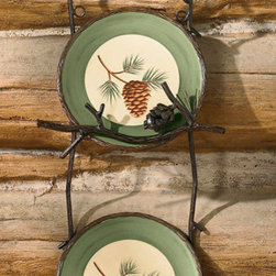 Lodge Style Plate Rack - Crafted to replicate pine boughs and pinecones the lodge styled plate racks will beautifully display your favorite plates.