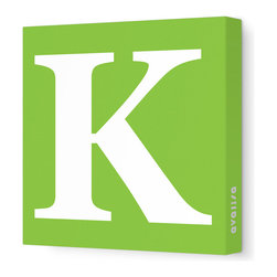 "Avalisa - Letter - Upper Case 'K' Stretched Wall Art, 18"" x 18"", Green - Spell it out loud. These uppercase letters on stretched canvas would look wonderful in a nursery touting your little one's name, but don't stop there; they could work most anywhere in the home you'd like to add some playful text to the walls. Mix and match colors for a truly fun feel or stick to one color for a more uniform look."