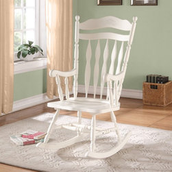 Monarch - Monarch Antique White Embossed Back Solid Wood Rocking Chair - I 1525 - Shop for Rocking from Hayneedle.com! Charming and comfortable as only country-style furniture can be the Monarch Antique White Embossed Back Solid Wood Rocking Chair complements its classic arrowback design with a rich white finish that s perfect for nurseries or traditional home interiors. This exquisitely detailed rocker is highlighted by embossed floral detail on its back as well as decorative finials turned spindles scrolling arms and supportive leg stretchers for added strength. About Monarch SpecialtiesWilbur Berger established Monarch Glass in 1950 on Rachel Street in Montreal providing quality custom mirror and glasswork for both retail stores and the home. Understanding that there was more business with glass Monarch started manufacturing and then diversified to importing mirrors and frames. Currently the company is centered in Quebec where it is a leader among furniture importers and distributors focusing on fashion forward designs and impeccable customer service.