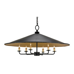 Currey and Company - Brussels Pendant - The Brussels Pendant is constructed of metal with a French Black finish outside and a Contemporary Gold Leaf finish inside. The warm glow is provided by the incandescent light reflecting on the metallic finish. The hand finishing process used on this chandelier lends an air of depth and richness not achieved by less time-consuming methods.