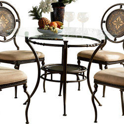 Powell - Powell Basil 48 Inch Glass Top Dining Table in Antique Brown - An elegant addition to any dining area, this table base features sweeping tapered leg posts and a floral pattern embossed metal shelf with faux nail head trim surrounded by support rings detailed with twists, rings, and cast ball connectors. Finished in a rich antique brown with a satin sheen. Protective glides included. Recommended glass tops, sold separately: gc2, gc3, gc4, or gc5. Some assembly required.
