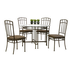 Cramco - Cramco Ivana 5-Piece Round Beveled Glass Dining Room Set - Features: