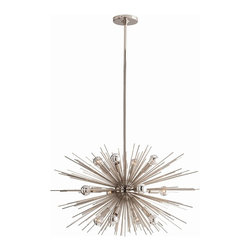 Arteriors - Zanadoo Chandelier, Polished Nickel, Small - 12 light starburst design in polished nickel is perfect by itself or can be grouped with the larger version 89989. We love it with the silver capped round bulbs.  This product is appropriate for an interior or exterior location that is subject to condensation or moisture such as a bathroom, indoor pool, or covered patio.