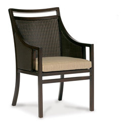 Thos. Baker - Audrey Wicker Outdoor Armchair - The audrey collection features durable powder-coated aluminum frames with N-duraA all-weather woven wicker inserts in black walnut. The hand applied java powder-coat is almost indistinguishable from genuine mahogany.Generously proportioned seating features fade- and water-resistant Sunbrella all-weather cushions. Immediate availability in Dupione Sand; over 50 alternative colors available made-to-order in 2-3 weeks.The styling says 1960s Mad Men Manhattan.Signature or premium cushion sales are final and ship in 2-3 weeks.