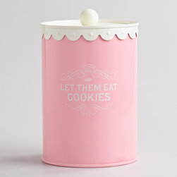Let Them Eat Cookies Canister - I do believe this might be the perfect cookie jar. I love the scalloped lid, pink enamel and lighthearted quote.