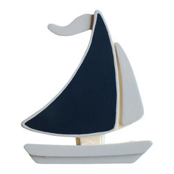 "Little Elephant Company - Sail Boat Quilt Clips set of 2 - Beautiful quilt clips that transform your treasured baby quilts and comforters into charming hanging artwork for your child's room.    Very easy to use.  ***     This listing is for a hand painted set of two (2) sailboat quilt clips.       The large sail is navy outlined in chambray blue. The small sail, hull, and flag are all chambray blue.      These quilt clips are perfect for nautical or transportation themed bedding sets.     Each sailboat measures 3.88 inches x 3.38 inches.     How many quilt clips do I need?  - For a quilt that is still stiff and new, you will only need 2 quilt clips for up to 36 inches wide. Many people will do 3 quilt clips just for the look, though. For a quilt that has been washed and is pliable, 2 clips will be sufficient for up to 36 inches, but you may want 3 clips to help keep the center from sagging. For a quilt 36 to 42 inches wide, use 3 to 4 clips. For a quilt 42 to 50 inches, use 4 to 5 clips.    How do the quilt clips work?  - The only hardware is needed is a long nail, approximately 1 1/2"" to 2 1/2"" in length.  - Measure how far apart you would like the clips to be.  - Decide how high on the wall they will be placed and mark your first spot. Using a level, measure out and mark the second spot.  - Place your nails into the wall at a 45 degree angle. IMPORTANT: If your nail is not at a 45 degree angle, the clip may slip off the nail.  - Clip the quilt and slide the back of the clip over the nail.    What are the clips made of?  - Designs are made of layered wood. A few of our designs also have layered felt.   - Clips on the back are a sturdy plastic so as not to damage your fabric."