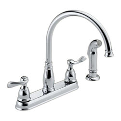 Delta - Delta 21996LF Windemere Series Two Handle Kitchen Faucet (Chrome) - The Delta 21996LF is a Windemere Series 2-lever-handled high-arc kitchen faucet with side sprayer that comes in a bright, highly reflective chrome finish, making it a sophisticated addition to any 4-hole mount kitchen sink. The high-arched spout and convenient side sprayer make quick, easy work of cleaning larger sinks and awkward sized dishes. This faucet comes with a lifetime faucet and finish limited warranty to the original consumer purchaser to be free from defects in material and workmanship, and a 5-year limited warranty for usage in all industrial, commercial, and business applications.