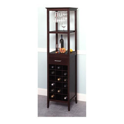 Winsome Wood - Dark Espresso Finished Wooden Wine Storage To - Top shelf holds and displays stemware with style. The upper section includes a convenient rack to hang your glassware and two display shelves. Decorate your entertaining space with this tall wine tower that is chic and attractive. The lower section includes storage drawer and storage compartments for your favorite wines. A lovely addition to the home of any wine connoisseur! * Stores up tp 18 bottles. Wine glasses hang from rack. . Holds 9-12 wine glasses. Finished in rich Dark Espresso. 67.25 H x 17.25 W x 17.25 D in.. Assembly Instructions