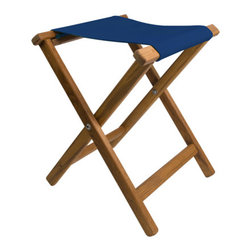 Teakworks4u - Teak Framed Folding Camp Stool with Cobalt Blue Canvas Seat - Add a folding camp stool to your home, cabin, camper, boat, deck, patio ... anywhere you need a little extra seating. These stools are great for tailgating!