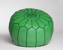 Green Leather Pouf - Moroccan poufs are a good piece of furniture to add. They're a small investment both in dollars and commitment.