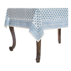 Origin Crafts - Petra blue tablecloth - Petra Blue Tablecloth 100% Cotton, block printed. Machine wash, tumble dry low, warm iron as needed. Made in India. Dimensions (in): Square - 55x55 - Seats 2?4 Rectangle - 60x90 - Seats 4?6 Rectangle - 60x120 - Seats 8?10 By Pomegranate Inc. - Pomegranate's vivid prints and wonderfully refreshing