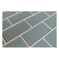 "Rocky Point Tile - Seaside 3"" x 6"" Glass Subway Tiles, 3"" X 6"" Sample - Add a feeling of serenity to your kitchen or bathroom with our Seaside 3"" x 6"" aqua blue glass subway tiles. The color is a nice blue gray with a hint of green. Our subway tiles are loose packed giving customers the option to install them in the pattern of their choice. Lay them in a grid or subway pattern, or get creative and try a herringbone pattern or basket weave! Use 1/8"" spacers and the grout lines will always line up!"