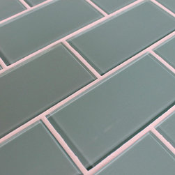 """Rocky Point Tile - Seaside 3"""" x 6"""" Glass Subway Tiles, 3"""" X 6"""" Sample - Add a feeling of serenity to your kitchen or bathroom with our Seaside 3"""" x 6"""" aqua blue glass subway tiles. The color is a nice blue gray with a hint of green. Our subway tiles are loose packed giving customers the option to install them in the pattern of their choice. Lay them in a grid or subway pattern, or get creative and try a herringbone pattern or basket weave! Use 1/8"""" spacers and the grout lines will always line up!"""