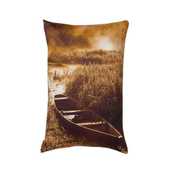 Lava - Canoe 14X18 Decorative Pillow (Indoor/Outdoor) - 100% polyester cover and fill.  Suitable for use indoors or out.  Made in USA.  Spot Clean only