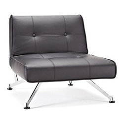 "Innovation USA - Innovation USA Clubber Chair - Chrome Legs - Black Leather Textile - 45"" x 35"" - A multifunctional and modular design intended for your living room."