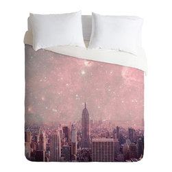 DENY Designs - Bianca Green Stardust Covering New York Duvet Cover - Turn your basic, boring down comforter into the super stylish focal point of your bedroom. Our Luxe Duvet is made from a heavy-weight luxurious woven polyester with a 50% cotton/50% polyester cream bottom. It also includes a hidden zipper with interior corner ties to secure your comforter. it's comfy, fade-resistant, and custom printed for each and every customer.