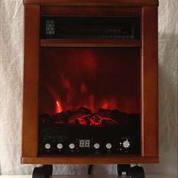 None - Energy Saver Infrared Oak Heater with Simulated Fireplace - Save energy and add a conversation piece with this oak simulated fireplace and heater. Featuring a simulated flame and four infrared heaters,this temperature-adjustable heater has a programmable timer and heats up to 1,000 square foot of area.
