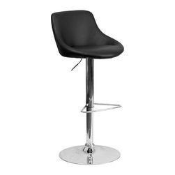 """Flash Furniture - Black Vinyl Bucket Seat Adjustable Height Bar Stool with Chrome Base - This dual purpose stool easily adjusts from counter to bar height. The bucket seat design will make this a great accent chair around the bar area or kitchen. The easy to clean vinyl upholstery is an added bonus when stool is used regularly. The height adjustable swivel seat adjusts from counter to bar height with the handle located below the seat. The chrome footrest supports your feet while also providing a contemporary chic design. Counter Height or Bar Stool; Black Vinyl Upholstery; Bucket Seat with Mid-Back; Swivel Seat; Height Adjustable Seat with Gas Lift; Foot Rest; Chrome Base; Base Diameter: 17.625""""; CA117 Fire Retardant Foam; Designed for Residential Use; Overall dimensions: 18.5""""W x 19.5""""D x 33"""" - 41.5""""H"""