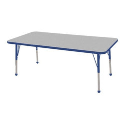 "ECR4Kids - 30"" x 60"" Rectangular Adjustable Activity Table in Gray - ELR-14111: Table tops feature stain-resistant and easy to clean laminate on both sides with edge banding and color-coordinated adjustable height legs. ECR adjustable leg activity tables feature 1.125 thick tabletops with laminate on both the top and bottom. Color-coordinated powder-coated upper legs, edgebanding, and matching polypropylene ball glides in the most popular classroom colors. Will not fade or discolor. Safe, non-toxic, stain-resistant and easy to clean. Tabletop Details: -Laminate table tops are 1.125 thick and are laminated on both sides. -Color-banding grips into the tabletop edges. -Color banding is made from PET and contains no phthalates. -The table substructure is made from medium-density particleboard (47 lb/ft³) that is at least 90% recycled (minimum 4% post-consumer, balance pre-consumer).. -EPP certified, CARB compliant and may contribute to US Green Building Councils LEED Credits. -18 gauge galvanized steel stability bars, with poly caps, installed on underside of all 66 - 72 length tables. -Superior shipping materials meet or exceed ISTA regulations. Leg Details: -Powder-paint coated upper leg. -Chrome-plated adjustable lower leg insert. -Legs are adjustable in 1 increments. -Threaded adjustment holes in chrome lower leg keeps legs securely in place. -Color coordinated polypropylene ball glides and nylon swivel glides available. -Easy mount leg installation with pre-installed brackets and pre- drilled screw holes for easy alignment. -Toddler Leg size (15"" - 23""). -Standard Leg size (19"" - 30""). -Chunky Leg size (15"" - 24"")."