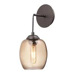 George Kovacs Lighting - Modern Sconce Wall Light in Copper Bronze Patina Finish - P931-647 - Wall sconce that can convert to a pendant light. If installed as a sconce the height will be 17-1/4-inches. If installed as a pendant the height is adjustable between 16-1/4 to 120 inches. Takes (1) 60-watt incandescent T10 bulb(s). Bulb(s) sold separately. Dry location rated.