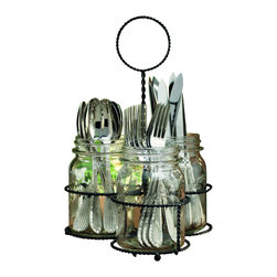 "Home Essentials - Glass Mason Jar 3 Sectional Flatware Caddy - Treat yourself and your flatware with our sophisticated yet classy 3 sectional caddy! Whether you are looking to complete the vintage feel of your event or decorating your home, this exceptional holder will add rustic elegance to any setting! Constructed of the finest quality glassware and fashioned into the shape of traditional mason jars, complete with a coordinating metal stand. Can be be used for flatware, napkins, serving utensils, condiments, or other small items you want to keep at the ready. * Overall dimensions: D: 9.5"", H: 13.75"" * Mason jars measure: D: 3.88"" H: 5.88"""