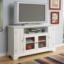 """Home Styles - Naples Entertainment Credenza, White - The Bedford Entertainment Credenza makes an immediate statement as a trendy addition to your home. The clean lines of the piece fit nicely with any modern decor. Features: -Accommodates up to 60'' flat screen TVs.-Open storage space in center perfect for cable boxes or DVD players.-2 Side doors reveal adjustable shelves.-2 Glass doors in front reveal adjustable shelves.-Wire management opening.-Accommodates up to 60'' flat screen TVs.-Perfect height to view your TV.-Brushed satin chrome hardware.-Smooth ebony finish.-Recommended TV Type: Up to a 60"""" flat panel TV.-Powder Coated Finish: No.-Gloss Finish: No.-Material: Hardwood solids and engineered wood.-Distressed: No.-Exterior Shelves: Yes -Number of Exterior Shelves: 1.-Adjustable Exterior Shelves: No..-Drawers: No.-Cabinets: Yes -Number of Cabinets: 3.-Number of Doors: 4.-Door Attachment Detail: Hinges.-Magnetic Door Catches: Yes.-Cabinet Handle Design: Knobs.-Number of Interior Shelves: 5.-Adjustable Interior Shelves: Yes..-Scratch Resistant (Scratch Resistant) : No.-Hardware Finish: Brushed nickel hardware.-Casters: No.-Accommodates Fireplace: No.-Fireplace Included: No.-Lighted: No.-Media Player Storage: Yes.-Media Storage: Yes.-Cable Management: Cable management opening.-Remote Control Included: No.-Batteries Required: No.-Swatch Available: No.-Commercial Use: No.-Collection: Bedford.-Eco-Friendly: No.-Recycled Content: No.-Lift Mechanism: No.-Expandable: No.-TV Swivel Base: No.-Integrated Flat Screen Mount: No.-Hardware Material: Brushed nickel hardware.-Non-Toxic: Yes.-Product Care: Clean with damp cloth.Specifications: -ISTA 3A Certified: Yes.-CARB Certified: Yes.-FSC Certified: Yes.Dimensions: -Overall Height - Top to Bottom: 36"""".-Overall Width - Side to Side: 60"""".-Overall Depth - Front to Back: 20"""".-Shelving: -Shelf Height - Top to Bottom: 7.5"""".-Shelf Width - Side to Side: 34.5"""".-Shelf Depth - Front to Back: 16""""..-Cabinet: -Cabinet Interior Width - Sid"""