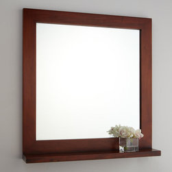 """30"""" Liani Mahogany Vanity Mirror - Embellished with a simple shelf, the 30"""" Liani Vanity Mirror has a clean design that lets the natural grain of mahogany shine through."""