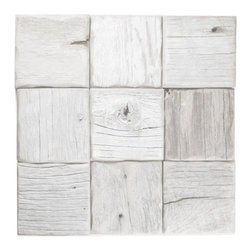 "E&S - Reclaimed Wood Tile - 4""x4"" Collin Straight Stack, White Wash, 1 Square Foot - We are proud to offer reclaimed Barnwood Wall Planks. Leading interior designers have indicated that while everyone loves the look of barnwood in the home, the material is incredibly hard to work with in its natural state.  One of the hardest challenges of getting Barnwood on the wall has always been the intense amount of labor it takes to get 100 year old wood to look good on the wall.  Barnwood Wall Planks are a simple wood panel solution to achieve an incredible look!  Installed just like your regular tile, this great wood panel product offers the opportunity to create a Barnwood Plank wall at an affordable price.  They come ready for immediate installation!"