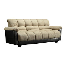 Homelegance - Homelegance Piper Elegant Lounger in Beige Microfiber - Whether being utilized as a sofa or bed, the cloud-like comfort of the Piper collection envelops you, sending you into a state of deep relaxation. With a quick adjustment to the click mechanism, this microfiber with bi-cast vinyl sofa lounger transforms between upright and reclining within seconds. A perfect fit in your contemporary or transitionally styled home.
