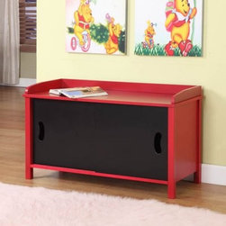 InRoom Designs Storage Toy Chest - Both you and I realize that the easy access of the InRoom Designs Storage Toy Chest's front sliding doors makes it very easy for kids to put away their things, but you may have to show your kids how it works, instead of just assuming that they'll start cleaning their rooms. This sturdy cabinet is crafted from rugged MDF with a veneer finish in bright red and jet black. A pair of sliding panels on the front provide access to a roomy interior that's big enough for toys, books, games or all three. The edged top is a great bench, but also just as useful for storage. This chest is easy to clean and requires minor assembly.About InRoom Furniture DesignsThough a young company, established in 2008, InRoom Furniture Designs provides world class design, marketing, engineering, and quality control. As an innovator in both youth bedroom and other home furnishings, they are committed to bring fresh designs and craftsmanship. At InRoom Furniture Designs, they pride themselves on paying close attention to product detail and quality features like full extension ball bearing drawer glides, beautifully accented English drawer dovetailing, maximum drawer size, and engineering safety.