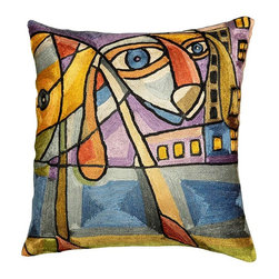 "Modern Silk - Picasso City Dog Pillow Cover Hand Embroidered 18"" x 18"" - Picasso city dog pillow cover - This Picasso inspired contemporary city dog cushion cover is hand embroidered using chain stitch. Unique design and Picasso cubism make this pillow artful and must for any modern home. It would make an exciting accent pillow for your couch, sofa or home office. Give it as a gift to your family and friends who love dogs or decorate your home with this modern dog pillow. Expertly handcrafted chain-stitch embroidery with a design inspired by the works of modern artist. Create a vibrant point of interest for your décor."