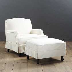 Ballard Designs - Rebecca Chair and Ottoman Slipcover and Frame - Custom made in the USA. Custom fitted for our Rebecca Chair and Ottoman, the self-piped, flat-front skirted designs won't shift or bunch. Strong, over-locking seams prevent gapping, and velcro strips let you adjust the fit from loose to tailored. Both remove easily for cleaning or a fresh change of seasonal color. Rebecca Chair and Ottoman Slipcovers features:  .