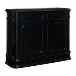 Crystal Pointe XL Black TV Lift Cabinet - Finished on all four sides, there's no mistaking the Crystal Pointe XL Black TV lift's classic design heritage with its intricately carved corner pillars, balanced proportions and finely crafted African Mahogany veneer. TV not included.