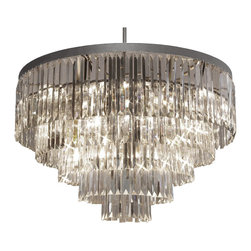 "The Gallery - Odeon Crystal Fringe 5-Tier chandelier Lighting - 100% Clear Crystal chandelier, this fantastic Empire chandelier is characteristic of the grand chandeliers which decorated the finest Chateaux and Palaces across Europe and reflects a time of class and elegance which is sure to lend a special atmosphere in every home. This item also works with energy efficient bulbs (not included). Assembly Required. Size: H 26"" W 31. 5"". 17- Light. 5-Tier."