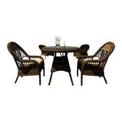 Forever Patio - Leona 3 Piece Round Wicker Patio Dining Set, Canvas Wheat Cushions - The Forever Patio Leona 3 Piece Rattan Patio Round Dining Set with Gold Sunbrella cushions (SKU FP-LEO-3RDN-MC-CW) creates the perfect atmosphere for one-on-one dining, perfect for smaller patio areas or decks. The set seats 2 adults comfortably, and includes 2 dining chairs and a dining table with a glass top. This set features Mocha resin wicker with a full round design that creates a complex and luxurious look. Each strand of this outdoor wicker is made from High-Density Polyethylene (HDPE) and is infused with the rich color and UV-inhibitors that prevent cracking, chipping and fading ordinarily caused by sunlight. The set is supported by thick-gauged, powder-coated aluminum frames that make it extremely durable and resistant to corrosion. Also included are fade- and mildew-resistant Sunbrella cushions. This outdoor patio dining set is sure to enhance any patio area with its traditional beauty and long-lasting design.