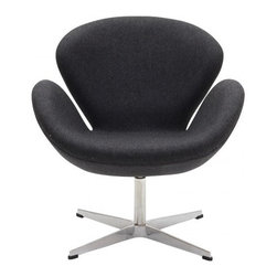Arne Jacobsen Style Swan Chair in Dark Grey - In every sense of the word the Swan Chair is a true classic that will never go out of style. The chair was designed in 1958 and was developed for the lobby and reception areas at the Royal Hotel in Copenhagen, and Poly+Bark's Replica is of the highest quality.