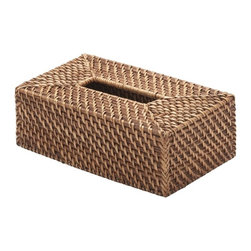 Kouboo - Rectangular Rattan Tissue Box Cover, Honey-Brown - A pretty accent for any room, this rattan tissue box cover is hand woven in Hapao style, which refers to the technique of alternating the color from a light natural to dark mocha when weaving the rattan peel over the rattan vine.
