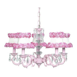 Belle & June - Audrey Chandelier - Make a statement in your little girl's bedroom or nursery with this dramatic and elegant chandelier. Pink base with dangling crystals throughout and a dramatic crystal ball center. The five white dupioni silk shades are perfectly accented with lush pink rose trim.