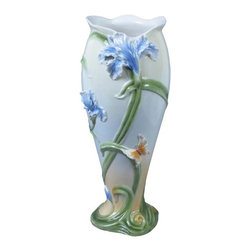 US - 13 Inch Tall Porcelain Vase with Iris Blooms and Butterfly Motif - This gorgeous 13 Inch Tall Porcelain Vase with Iris Blooms and Butterfly Motif has the finest details and highest quality you will find anywhere! 13 Inch Tall Porcelain Vase with Iris Blooms and Butterfly Motif is truly remarkable.