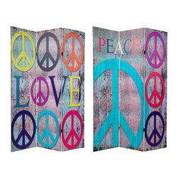 "Oriental Furniture - 6 ft. Tall Double Sided Multi-Color Peace & Love Room Divider - Kitsch collage of art graphics depicting peace and love in counter culture designs reminiscent of Andy Warhol, Twiggy, and ""the scene"". Vibrant prints on six foot tall panels provide a practical folding screen for privacy, blocking light, dividing and defining space, or screening a messy work area. Great for dorm rooms, art studios or rec rooms."