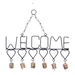 Welcome Wind Chimes with Gangling Metal Hearts and Bells - Wondering what you could do to deck up your home this New Year? Or, searching for a perfect gift for your best friend?s housewarming party? Just consider this Metal Welcome Wind Chime. It features a warm WELCOME design crafted with metal. It helps convey your heartfelt invitation to your guests. Below the metallic word is a horizontal series of cute metal hearts that adds more weight to your emotions. Attached to each heart via a metal link is a bell that emits a sweet acoustic melody when it sways with the breeze. You could hang this wind chime up near your doorway so that it is the first thing your guests see, or put it up in your patio or balcony. This wind chime has strong metallic chains and a link at the top. Made from durable and rustproof metal, it sustains adverse climatic conditions without any adverse effect.. It comes with a dimension: