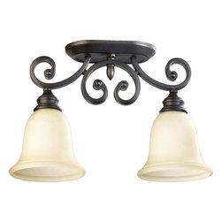 Joshua Marshal - Two Light Oiled Bronze Amber Scavo Glass Bowl Semi-Flush Mount - Two Light Oiled Bronze Amber Scavo Glass Bowl Semi-Flush Mount