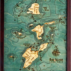 Thos. Baker - bass islands/put-in-bay (16w 20h) - Laser cut and hand colored in Baltic birchwood, this dramatic Bass Islands/Put-In-Bay laser cut marine chart (16w 20h) by Thos. Baker is reproduced from an actual hydrographic survey.  Fully framed in solid wood protected by a durable, ultra-transparent sheet of plexiglass. Fasteners not included.��This item size is��16w 20h.